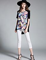 Damen Druck Einfach Aktiv Lässig/Alltäglich Party/Cocktail T-shirt,Rundhalsausschnitt Kurzarm Polyester