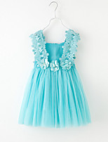 Girl's Solid Color Floral Patchwork Dress,Cotton Tulle Netting Summer Sleeveless