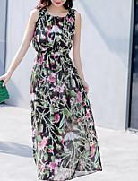 Feminino balanço Vestido,Casual Geométrica Decote Redondo Longo Sem Manga Poliéster Verão Cintura Alta Sem Elasticidade Fina