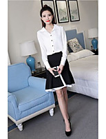 Women's Work Simple Shirt Skirt Suits,Solid V Neck Long Sleeve Micro-elastic
