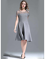 UNE FLEUR Women's A Line Dress,Solid Round Neck Knee-length Short Sleeve Polyester Summer High Rise Micro-elastic Thin