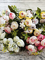 13 Head Artificial Flower Camellia Buds Bouquet for Home Decor and Wedding Decorations