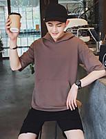 Men's Casual Hoodie Solid Hooded Inelastic Cotton Short Sleeve Summer