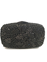 Women Luxury Black Floral Clutches Coverd with Full Crystals