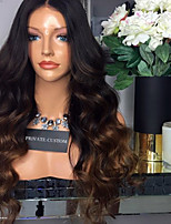 Ombre T1B/Brown Lace Front Human Hair Wigs Body Wave with Baby Hair 180% Density Brazilian Virgin Hair Glueless Lace Wig for Woman