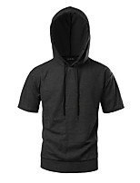 Men's Casual/Daily Going out Simple Hoodie Solid Hooded Micro-elastic Polyester Taffeta Short Sleeve Summer Fall