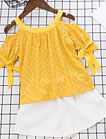 Girls' Hollow Sets,Cotton Summer Short Sleeve Clothing Set