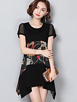 Women's Plus Size Going out Street chic Loose Dress,Print Round Neck Asymmetrical Short Sleeve Nylon Summer Mid Rise Micro-elastic Medium