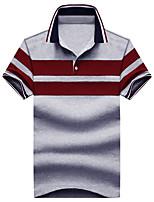 Men's Business Daily Casual Simple Summer Polo,Striped Shirt Collar Short Sleeve Cotton Medium