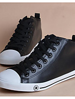 Men's Sneakers Comfort Canvas PU Spring Casual White Black Flat