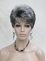 Short Layered Grey Full Synthetic Wig Wigs for Lady Women