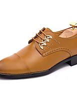 Для мужчин Кеды Удобная обувь Полиуретан Лето Повседневные Для прогулок Удобная обувь Шнуровка На плоской подошве Белый Черный Желтый4,5
