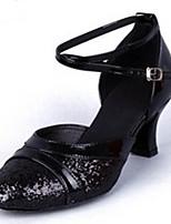 Women's Latin PU Glitter Heels Indoor Buckle Low Heel Silver Black Gold 2