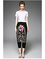 OYCP Women's Daily Contemporary Summer T-shirt Pant SuitsSolid Embroidery Round Neck Short Sleeve
