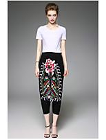Manches Ajustées Pantalon Costumes Femme,Couleur Pleine Broderie Quotidien Moderne Eté Manches Courtes Col Arrondi
