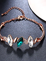 Women's Chain Bracelet Charm Bracelet Rose Gold Plated Emerald Crystal AAA Cubic Zirconia Natural Fashion Vintage