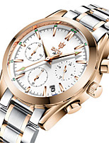 Men's Fashion Watch Quartz Calendar Alloy Band Silver Gold