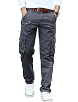 Men's Mid Rise Micro-elastic Active Chinos PantsSimple Loose Straight Solid CR-7102