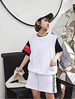 Women's Casual/Daily Cute Summer T-shirt Pant Suits,Solid Round Neck Short Sleeve Inelastic