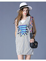 Women's Birthday Casual Spring Tank Top Dress Suits,Striped U Neck Sleeveless
