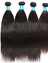 Vinsteen Yaki Human Hair Extensions 4Pcs Indian Hair Weave Natural Human Hair Weft Double Weft Human Hair Weaves Black Color Hair Weft Extensions
