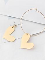 Mulheres Brincos Compridos Estilo simples Incompatibilidade Moda Euramerican Cobre Formato de Coração Jóias Para Diário