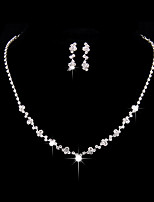 Women's Jewelry Set Drop Earrings Choker Necklaces  Fashion Simple  Elegant Silver Cubic Zirconia Irregular For Wedding Party