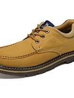 Camel Men's Outdoor Cow Leather Lace-up Flat Heel Work Shoes Color Khaki/Earth Yellow