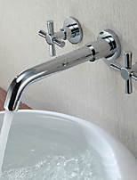 Contemporary Wall Mounted with  Ceramic Valve Two Handles Three Holes for  Chrome  Bathroom Sink Faucet
