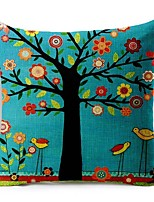 1 Pcs Cartoon Blue Tree Of Life Cushion Cover 45*45Cm Cotton/Linen Pillow Cover Home Decor