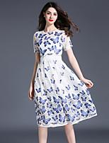Linea A Vestito Da donna Vintage Moda città Sofisticato Collage Rotonda Al ginocchio Manica corta Poliestere Di pizzoPer tutte le