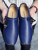 Для мужчин Мокасины и Свитер Удобная обувь Кожа Весна Осень Повседневный На плоской подошве Белый Желтый Синий 2,5 - 4,5 см