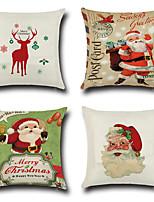 4 Stück Baumwolle/Leinen Kissenbezug,Neuheit Modisch Weihnachten Retro Traditionell-Klassisch Euro Weihnachten