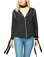 Women's Plus Size Going out Work Simple Street chic All Match Fashion Chiffion Spring Fall T-shirtColor Block V Neck Long Sleeve Medium