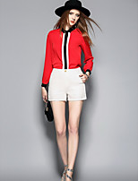 ANGEL Women's Going out Casual/Daily Cute Spring Summer BlouseColor Block Shirt Collar Long Sleeve Polyester Thin