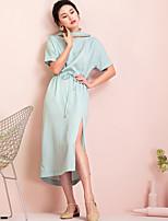 Largo Vestito Da donna-Casual Tinta unita Asimmetrico Medio Manica corta 100% Seta Estate A vita alta Anelastico Sottile