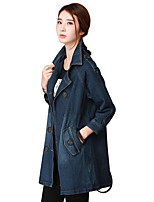 Women's Going out Casual/Daily Work Simple Street chic Spring Fall Blazer,Solid Round Neck Long Sleeve Regular Rayon