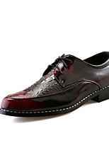 Men's Oxfords Comfort Leather Spring Summer Office & Career Party & Evening Flat Heel Ruby Silver Black  Walking Shoes