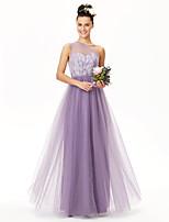 LAN TING BRIDE עד הריצפה כתפיה אחת שמלה לשושבינה  - אלגנטי ללא שרוולים תחרה טול