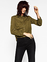 Women's Casual/Daily Simple Shirt,Solid Square Neck Long Sleeve Cotton