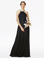 Sheath / Column Spaghetti Straps Floor Length Chiffon Lace Bridesmaid Dress with Lace Pleats by LAN TING BRIDE®