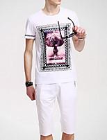 Для мужчин Спорт Толстовка 3D-печати Круглый вырез Слабоэластичная Хлопок С короткими рукавами Лето