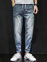 Men's Mid Rise Micro-elastic Harem Jeans PantsSimple Loose Harem Ripped Solid YF-6083-1