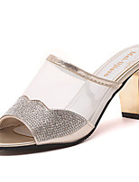 Women's Slippers & Flip-Flops PU Summer Dress Block Heel Gold Silver 2in-2 3/4in