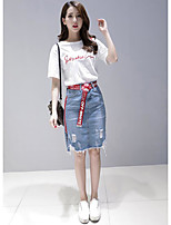Women's Going out Cute Summer T-shirt Skirt Suits,Letter Round Neck Short Sleeve Denim