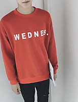 Men's Daily Sweatshirt Solid Letter Round Neck Inelastic Cotton Long Sleeve Spring Fall