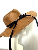 Для женщин Винтаж На каждый день Декоративные Шапки Шляпа от солнца,Весна/осень Лето Солома Однотонный