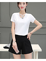 Women's Casual/Daily Street chic Summer T-shirt Skirt Suits,Solid Round Neck ½ Length Sleeve
