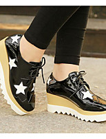 Women's Sneakers Creepers Comfort PU Patent Leather Spring Casual Black White Flat