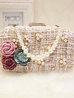 Women Evening Bag Nylon All Seasons Event/Party Party & Evening Date Baguette Pearl Detailing Magnetic Rainbow